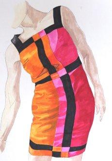 Mondrian Dress 2- MARKER PEN ON BRISTOL BOARD 40CM X 30CM