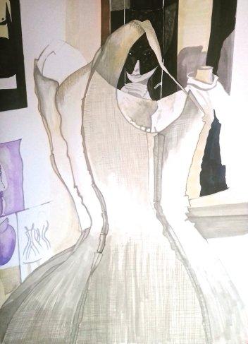Mull Bell dress- 30cm x 40cm marker pen on Bristol board