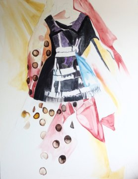 "' Polka Dot Black Dress' 48"" x 36"" (WIP)"