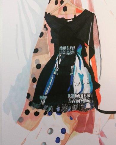 Polka Dot Dress- Marker pen on Bristol Board 40cm x 30cm