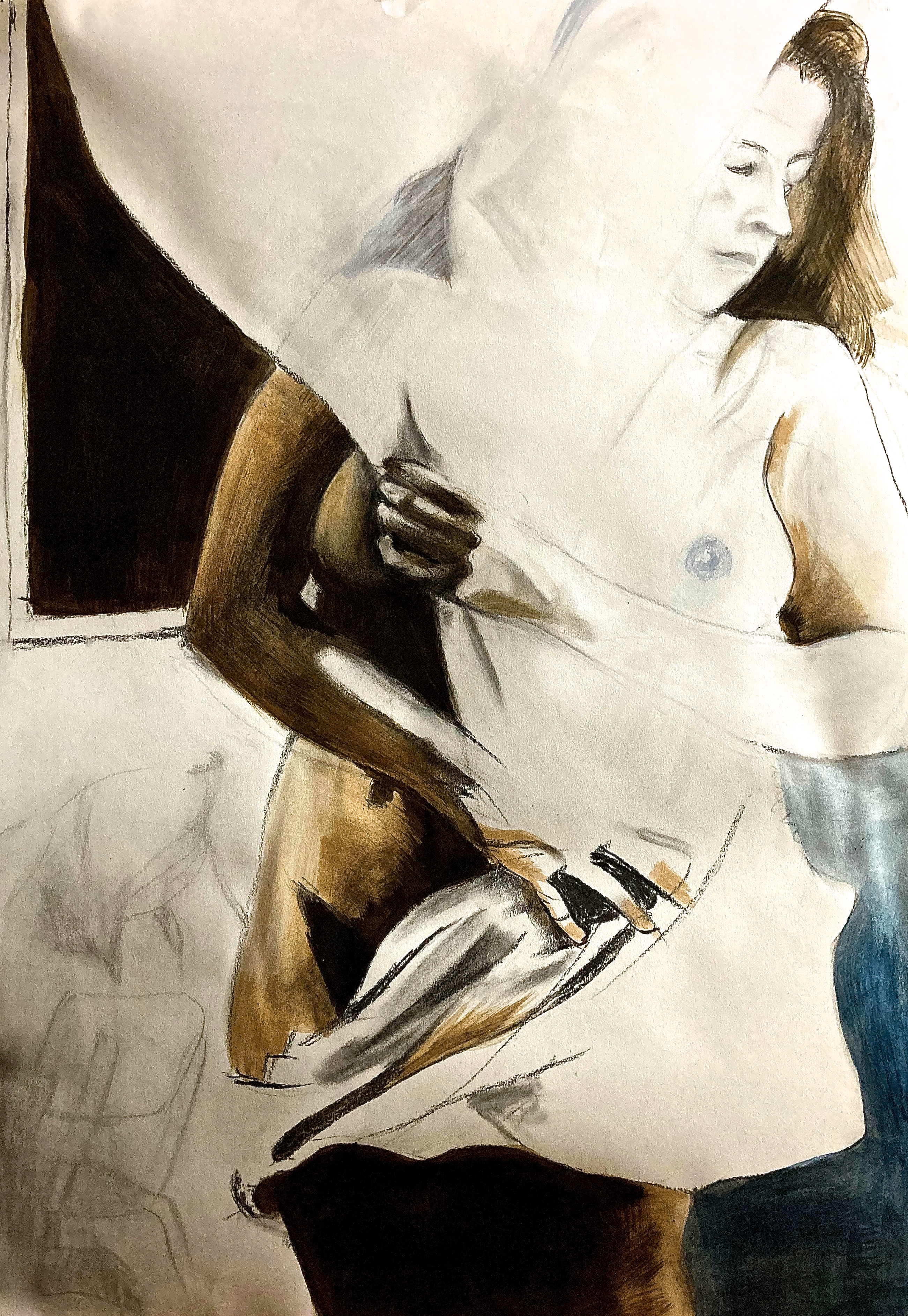 semi abstract, nude, charcoal, hi contrast