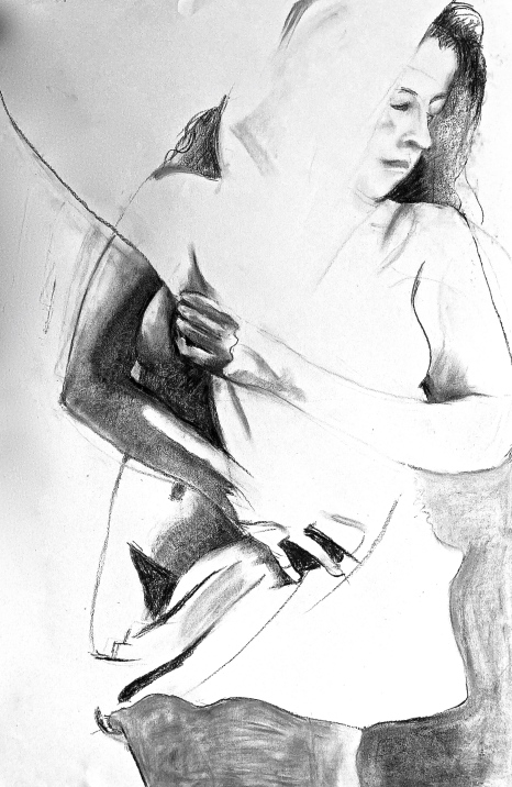Drawing for 'Wrapped' charcoal