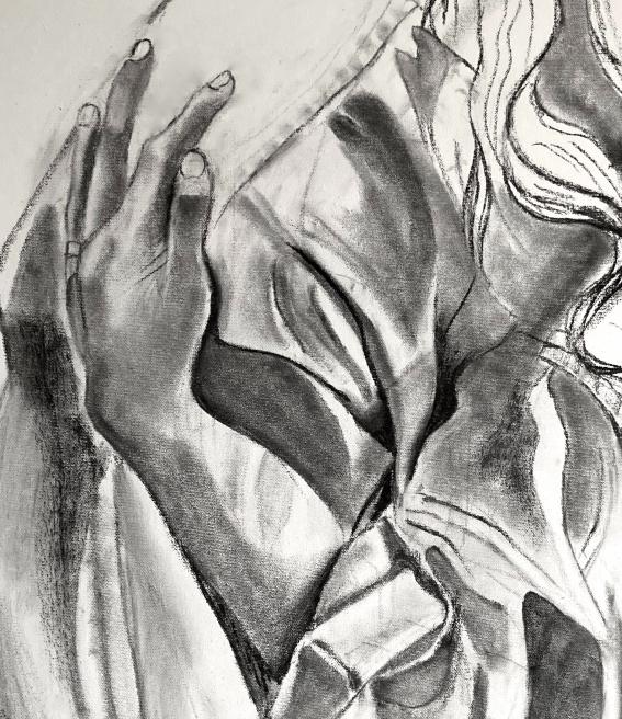 Hug#2 detail charcoal